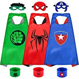 Sinoeem Superhelden Kinderkostüm Kinder Cosplay Kostüme für Junge Mädchen 3-12 Jahre Spielzeug & Geschenke für Kindergeburtstag Halloween oder Karneva (3pcs Capes-A)