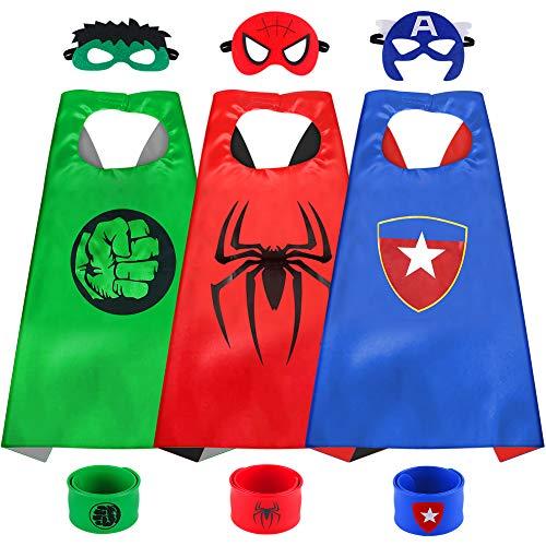 Sinoeem Capa de Superhéroe para Niños - 3 Capa y 3 Máscaras y 3 Slap Pulseras - Ideas Kit de Valor de Cosplay de Diseño de Fiesta de Cumpleaños de Navidad - Juguetes para Niños y Niñas (3pcs Capes-A)