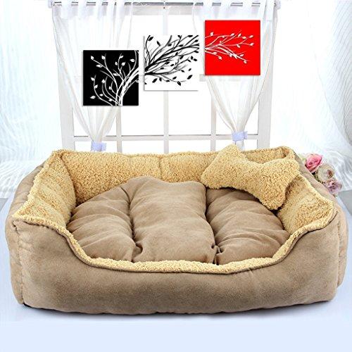 Doghouse Automne et Hiver Dog Bed Puppy Bone Cotton Nest (Couleur : Kaki)