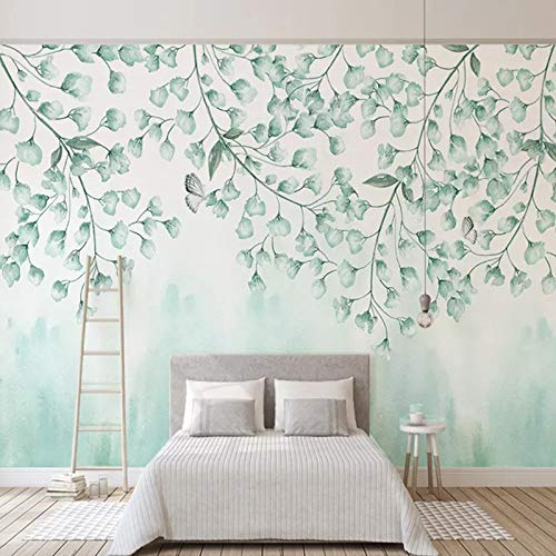 Papel Tapiz Mural 3D Personalizado,Green Leaves Wall, Custom Hd 3D Stereoscopic Living Room Sofa Tv Background Large Wall Papers Home Decor Modern Bedroom Decoration Wallpaper, 60Cm(H)×120Cm(W)