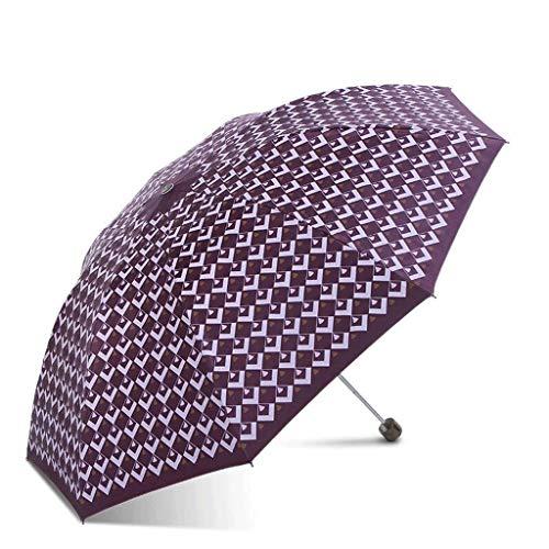 SBSNH Sun Sunscreen Anti-UV Mujer Plegable Sunny Sunscreen Paraguas, Tres Veces Paraguas (Color : Purple)