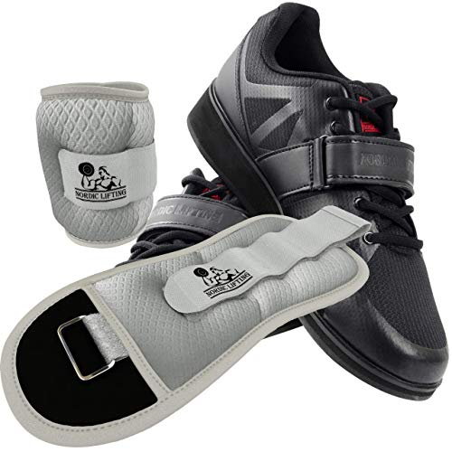 Nordic Lifting Powerlifting Shoes MEGIN (Black, 8 US) and Ankle/Wrist Weights (1 Pair, Two 5 lbs) Sleek Grey
