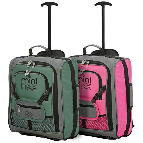 MiniMAX Childrens/Kids Luggage Carry On Trolley Suitcase with Backpack and Pouch for Your Favourite Doll/Action Figure/Bear (Green + Pink)