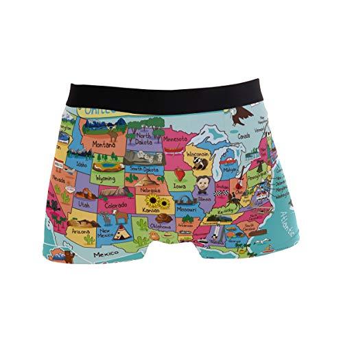 BONIPE Herren Unterhose, bunt, lustig, Cartoon-Motiv Amerika-Karte, Stretch, atmungsaktiv, niedrige Höhe, Größe S Gr. S, Mehrfarbig