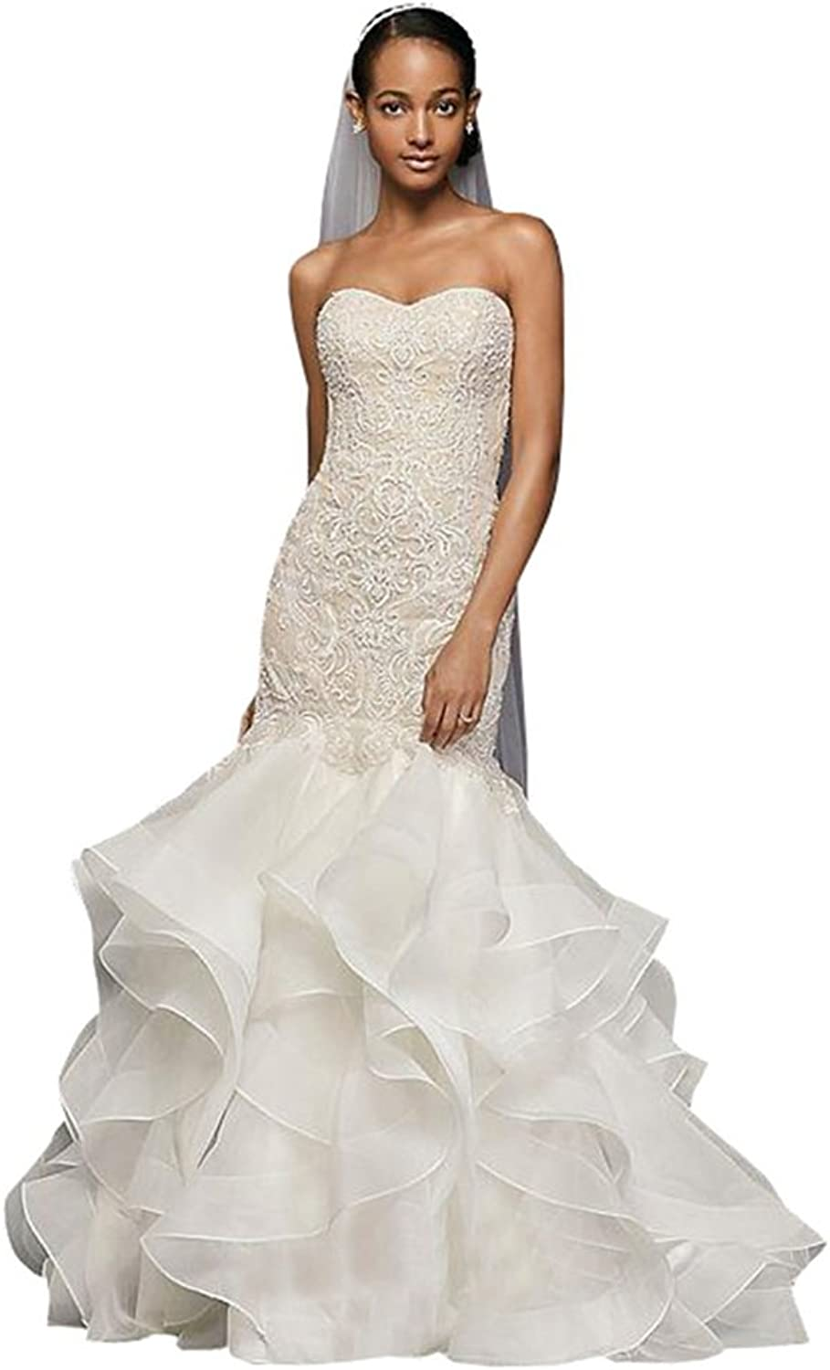 Ellystar Women's Mermaid Lace Sleeveless Covered Button Sweetheart Bridal Gowns