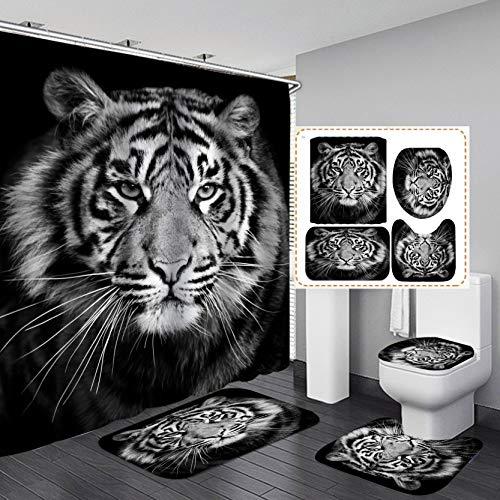 Fashion&Man 4-teiliges Set Leopard Löwe Tiger Duschvorhang Stoff Polyester Wasserdicht Badvorhang und Vorleger Set Badteppich WC-Deckelbezug Badezimmer Dekor 182,9 x 182,9 cm + 12 Haken Stil 2