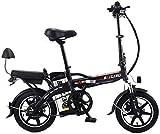 Plegable eléctrica Bicicletas Arena nieve Bicicleta 14' marco de aluminio de bicicletas 350W 48V / 20AH eléctrica QU526 Bici (Color: Rojo) yqaae (Color : Black)
