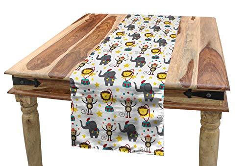 ABAKUHAUS Bebé Camino de Mesa, Circo Animales De Dibujos Animados, Decorativo para el Comedor o Sala de Estar Estampa Digital, 40 x 300 cm, Multicolor