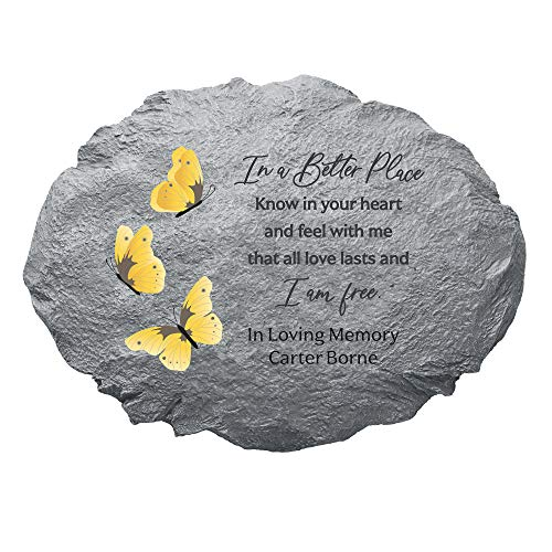 """Let's Make Memories Personalized Sympathy Stepping Stone - I Am Free - Condolence & Memorial Gift - Customize with Message -11""""Lx6""""Wx3""""D"""