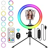 Anillo de luz LED Selfie con 26 RGB Colores, PTN 10' Aro de Luz 3 Modos de iluminación, 9 Brillo Ajustable con Control Remoto Inalámbrico para Móvil TikTok Youtube Fotografía Maquillaje Live