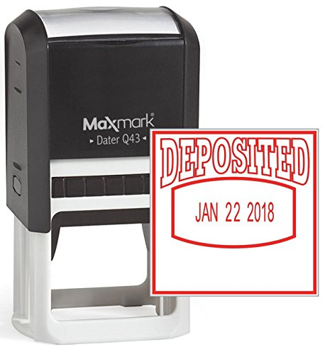 MaxMark Q43 (Large Size) Date Stamp with'DEPOSITED' Self Inking Stamp - Red Ink