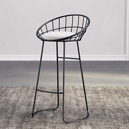 QGHLW Barstuhl Sessel Barstuhl Eisenstuhl Gold hohen Stuhl modernen Esszimmerstuhl Eisendraht Stuhl rund Barhocker mit Fußstütze Barstuhl Familienküche Barhocker Rückenlehne Stuhl (Color : Black)