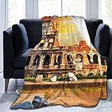 Affordable shop Manta de forro polar de 127 x 152 cm - City Rome Italy Colosseum Anfiteatro Flavian Roma Italia Anfit Home franela suave cálida manta de felpa para cama/sofá/oficina/camping