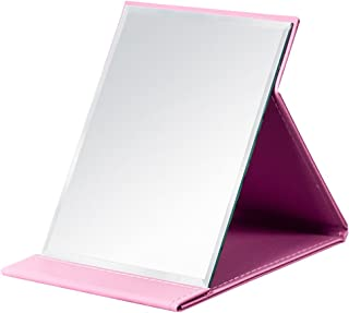 JOLY Protable PU Leather Mirror Folding Desktop Makeup Mirror with Adjustable Stand for Personal Use,Travelling (S, Pink)