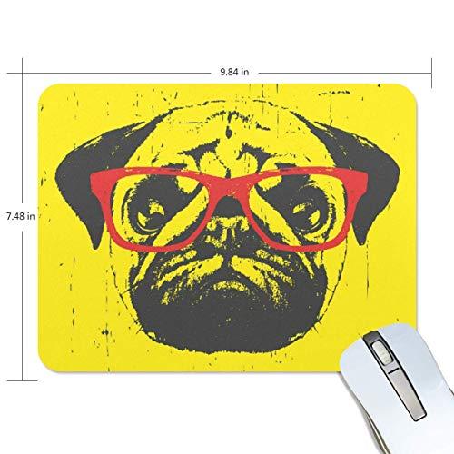 Alfombrilla de ratón rectangular de goma antideslizante para juegos de perros, con diseño de perro divertido y con gafas, 19 x 24 cm