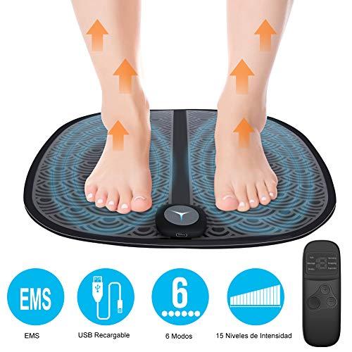 EMS Masajeador de Pie Plegable, Estimulador de Pie Recargable con Remoto Control 6 Modos15 Niveles Intensidad Ajustable para Mejorar la Circulación Sanguínea y Relajación del Dolor