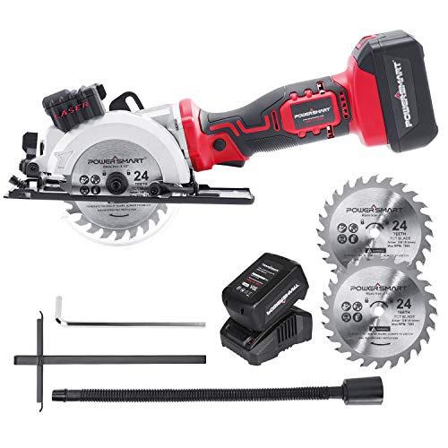 POWERSMART Circular Saws, 4-1/2 inch Cordless Circular Saws, 4500 RPM Power Circular Saws with 3/8 inch Arbor, Two 24 Teeth Blades 20V 4.0Ah Battery and Charger Included, PS76138A