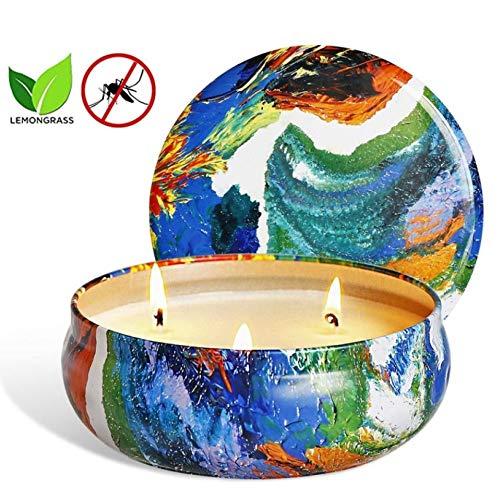 SaiXuan Citronella Kerze Duftkerzen in Dose,425g Anti Mücken Kerze 100% Sojawachs Outdoor Indoor,Citronella Kerzen Mücken für Garten