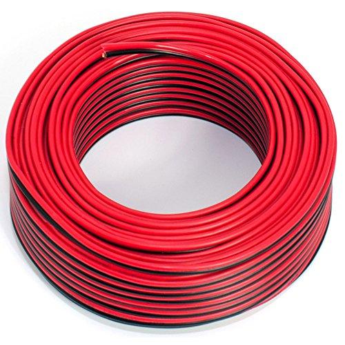 Cable para altavoz (2 x 0,75 mm², 25 m), color rojo y negro