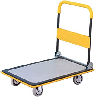 Office Household Trolley, Small Trailer Four-Wheeled Silent Trolley Folding Trolley Size 73 * 47CM, 90 * 60CM (Color : Yellow, Size : 90 * 60CM)