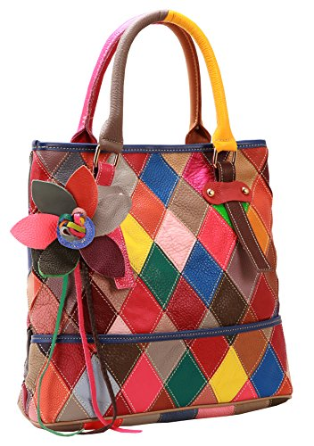 On Clearance Heshe Womens Multi-color Shoulder Bag Hobo Tote Handbag Cross Body Purse (Colorful-2B4009) (Dooney And Bourke Double Long Handle Tote)