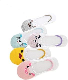 6PCS señoras invisible calcetines de dibujos animados lindo poco profundos calcetines deportivos calcetines calcetines respirables de compresión Calcetines Elástico