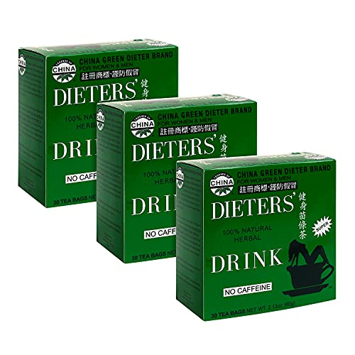 Uncle Lee's Dieters Tea for Weight Loss - Chinese Green Slim Tea With Senna Leaves - 100 Percent Natural No Caffeine - 30 Tea Bags, Pack of 3