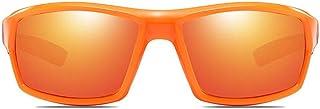 Fashion New Sports Outdoor Anti-Glare Aluminum Magnesium Sunglasses Orange/Blue Men and Women with Polarized Riding Sunglasses Retro (Color : Orange)