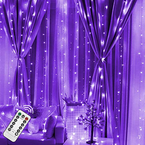 Twinkle Star 300 LED Halloween Window Curtain String Light with Remote Control Timer for Christmas Wedding Party Home Garden Bedroom Outdoor Indoor Decoration, Purple