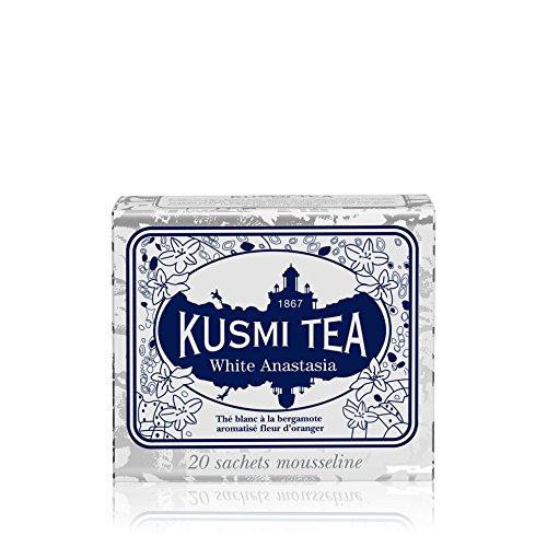Kusmi Tea - White Anastasia - White Tea Blend with Citrus, Bergamot & Lemon - All Natural Loose Leaf Green and White Tea Blend with No Additives in 20 Eco-Friendly Muslin Tea Bags (20 Servings)