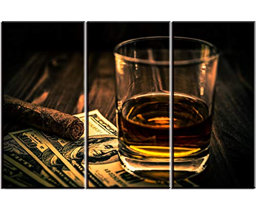 Cigar and Wine Wall Art for Bar, PIY Whiskey Picture...