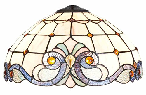 Lumilamp 5LL-5807 Glasschirm/Lampenschirm Tiffany Stil buntes Glas Ø 40 * 21 cm dekoratives buntglas handgefertigt glasschirm