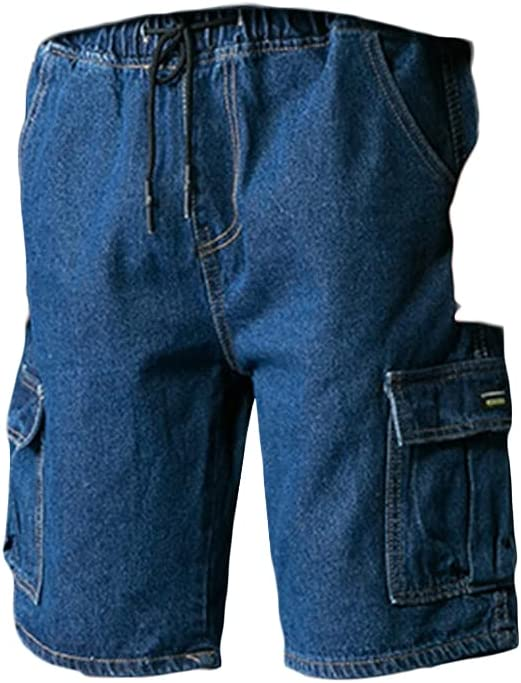 Men's Straight Loose Cargo Denim Shorts Outdoor Casual Cropped Jean Short Multi Pockets Durable Baggy Work Jeans Shorts (Dark Blue,27)