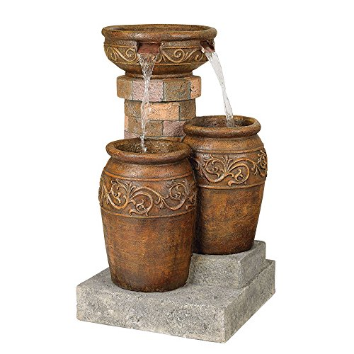 """John Timberland Tuscan Outdoor Floor Water Fountain with Light LED 31 1/2"""" High Cascading for Yard Garden Patio Deck Home"""