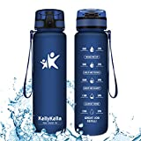 KollyKolla Botella Agua Sin BPA Deportes - 1L, Reutilizables Ecológica Tritan Plástico, Bebidas Botellas con Filtro & Marcador de Tiempo, para Gimnasio, Tapa Abatible de 1 Clic, Azul Oscuro Mate