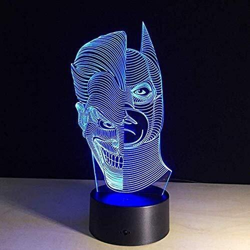 Lampada da notte Illusione della novità 3D della lampada Joker di Batman LED Night Light Marvel Super Hero ottici visiva comodino sonno della lampada una doppia faccia for la casa giocattoli del regal