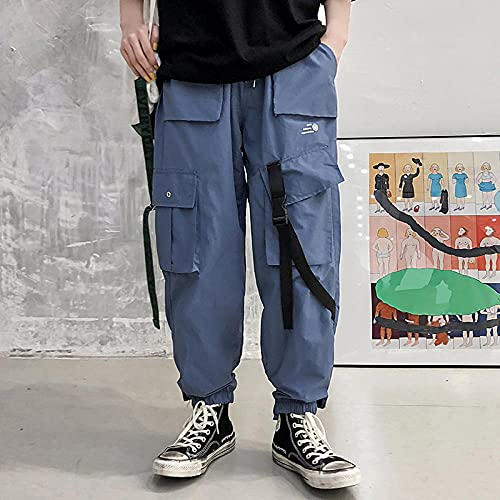 Multi Bolsets Pantalones de Carga Hombres Casual Jogger Men Harajuku Streetwear Pantalones Hip Hop Pants Techwear-Azul_LOS
