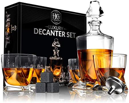 Premium Glass Decanter Set Whiskey Decanter Set 4 Liquor Glasses Mens Gift 9 Cooling Whisky product image
