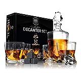 Premium Glaskaraffen-Set, Whiskey-Dekanter-Set, 4 Likörgläser, Herren-Geschenk, 9 kühlende Whisky-Steine und Trichter für Rum, Scotch, Bourbon, Whisky, kristallklares Likör-Dekanter-Trink-Set (Glas)