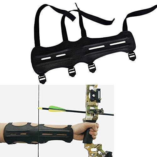 3Z Archery Guardia del braccio in pelle PU tiro con l'arco Equipaggiamento protettivo con elastico a 4 cinghie regolabile