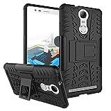 Inktree® Hard Armor Hybrid Rubber Bumper Flip Stand Rugged Back Case Cover for Lenovo K5 Note [Black]