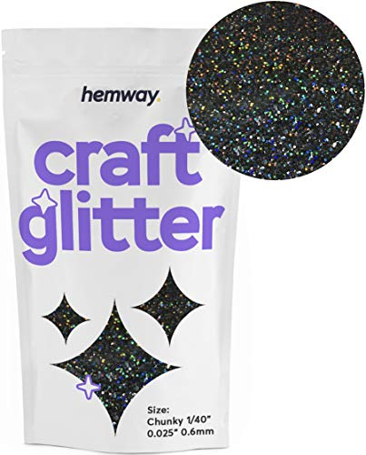 Hemway Craft Glitter Chunky 100g - Purpurina (0,6 mm), BLACK HOLOGRAPHIC, CHUNKY 1/40