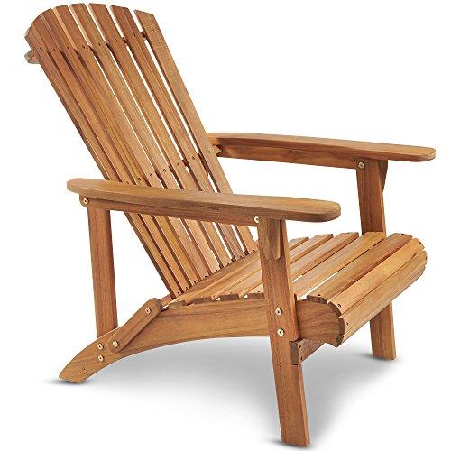 VonHaus Chaise Adirondack - Bois Dur d'Acacia avec Finition à l'Huile - Chaise de Jardin en Bois de Plein Air