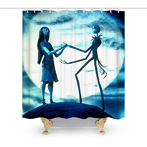 Final Friday Nightmare Before Christmas Disney Theme Fabric Shower Curtain Sets Halloween Chrisrmas Bathroom Decor with Hooks Waterproof Washable 70 x 70 inches Dark Blue Teal and White