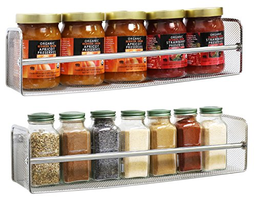 DecoBros 2 Pack Wall Mount Single Tier Mesh Spice Rack, Chrome