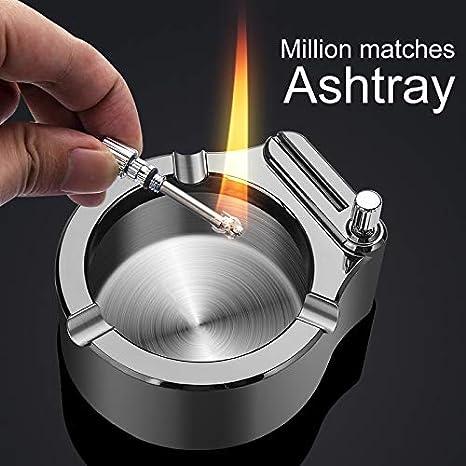 Acreny Retro Metal Ashtray Ten Thousand Match Lighter Multifunction Ashtray