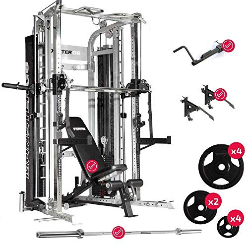 Force USA Monster G6 Smith Machine Ultimate Package Adjustable Bench, Core Trainer, MonoLifts, Olympic Bar & Weights