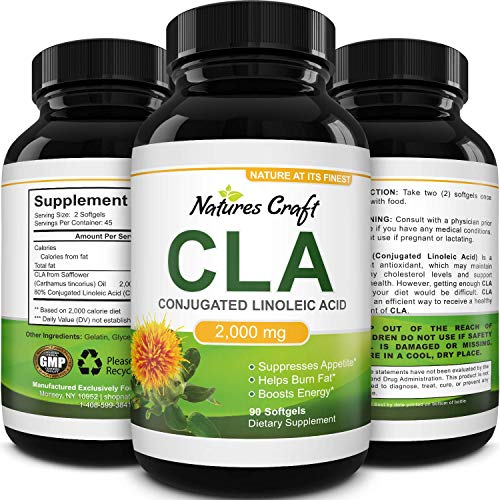 Natures Craft's Pure CLA Weight Loss Supplement Safflower Oil - Natural Diet Pills for Men Women Boost Metabolism Belly Fat Burner - Best 1000 mg CLA Capsules Conjugated Linoleic Acid Complex