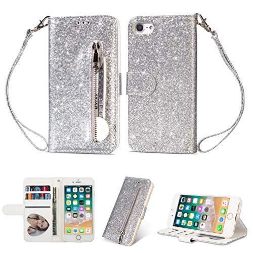 Yobby Glitzer Brieftasche Hülle für iPhone 6, iPhone 6S Silber Handyhülle Bling Slim Reißverschluss Leder Schutzhülle Flipcase [Stand-Funktion] mit Kartenfach und Handschlaufe