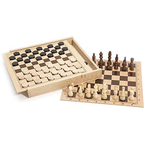 Jeujura - 8133 - Jeu de Société - Jeux de Dames et d'échecs - Coffret en Bois